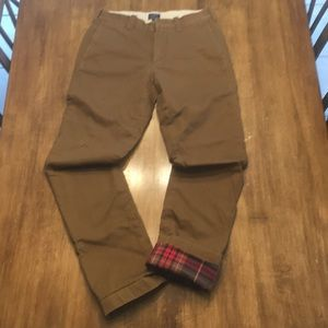 J Crew Flannel Lined Chinos